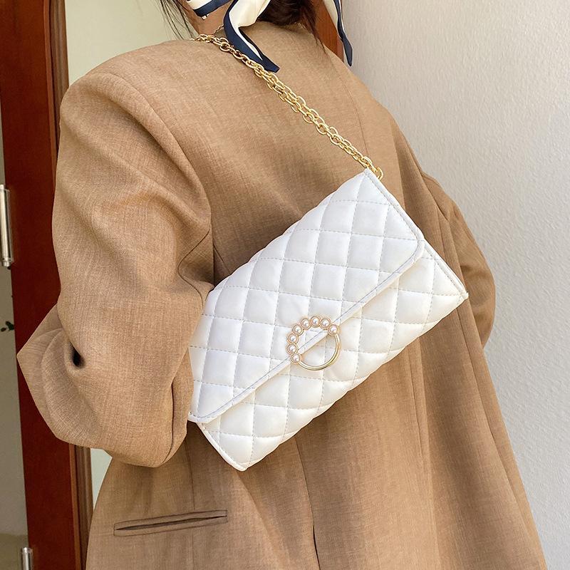 Moda Zincir Çanta Kadın Yaz Vahşi 2021 Yeni Inci Rhombus Kol Omuz Küçük Messenger Trendy Meydanı CQQHHN