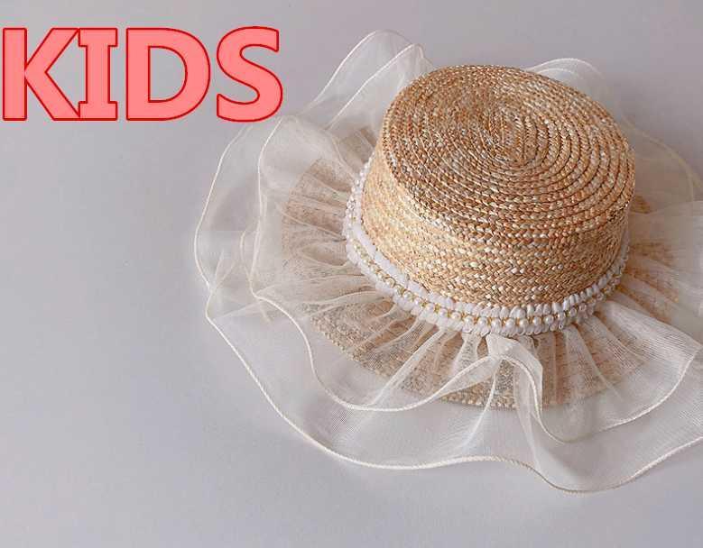 202104 - lele 여름 수제 짚 진주 리본 레이스 브림 소녀 어린이 Fedoras 모자 아이 재즈 파나마 모자 모자 모자