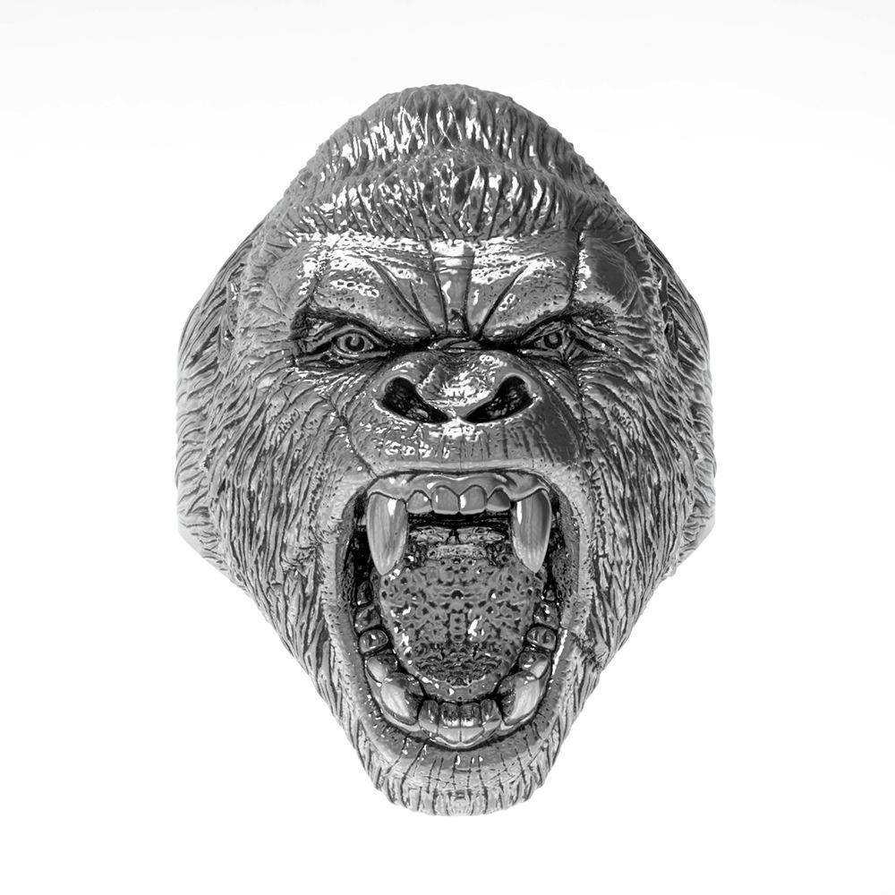Titanyum Çelik erkek Yüzük Retro Hayvan Kızgın Gorilla Yüzük Punk Tarzı Moda Lokomotif Yüzük Boyutu 7-14