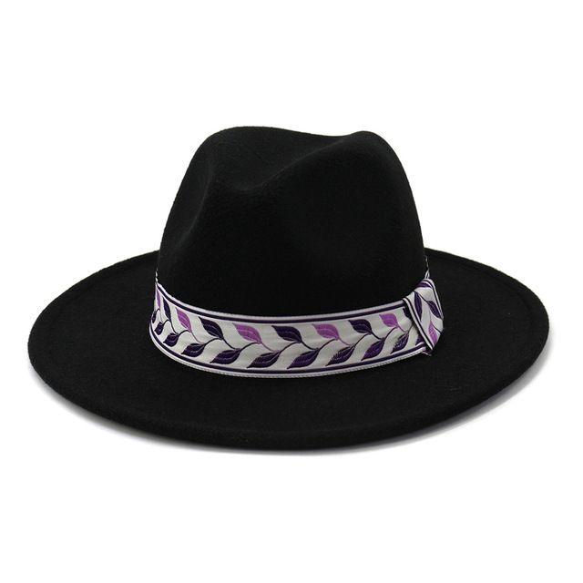 Khaki Women Fedora Wide Brim Hat Wool Leaf Print Vintage Hats for Women Men Sombrero Army Green Woolen Felt Cap