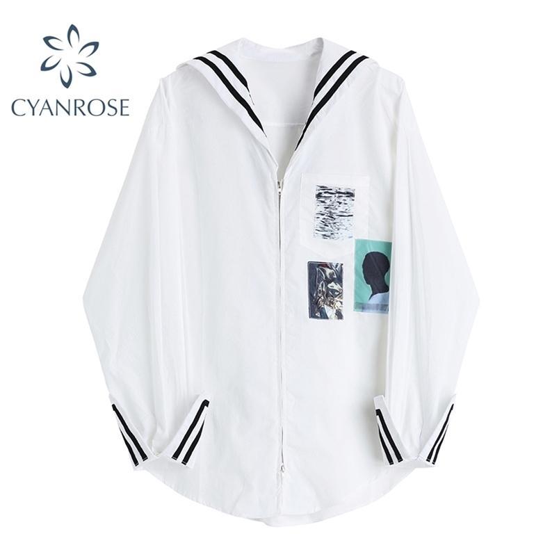 Cardigan con cerniera Camicette e camicie bianche per le donne manica lunga marinaio colletto oversize femmina rilassamento baggy streetwear top 210515
