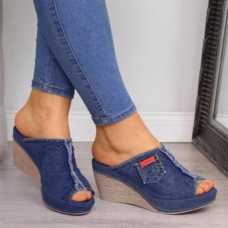 Damen Slipper Sommer Keile Leinwand Denim-Plattform Peep Toe Weibliche Schuhe Solide Rutsch Rutsch Casual Damen Schuhe 2021 Hausschuhe