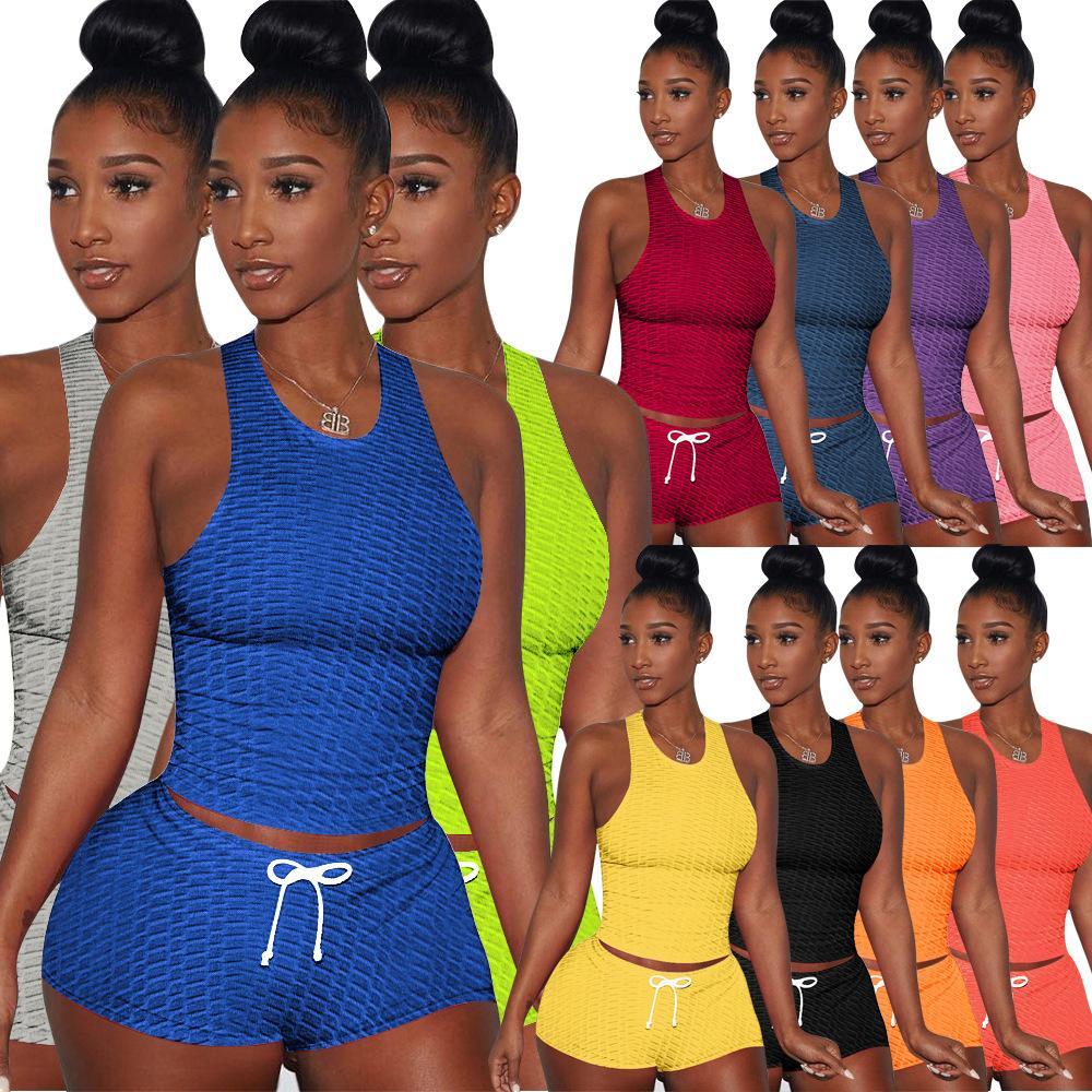 Trajes de mujer Yoga Dos piezas Deporte Shorts Chaleco de verano Traje Cuello redondo Color Sólido Sin mangas Ropa Casual