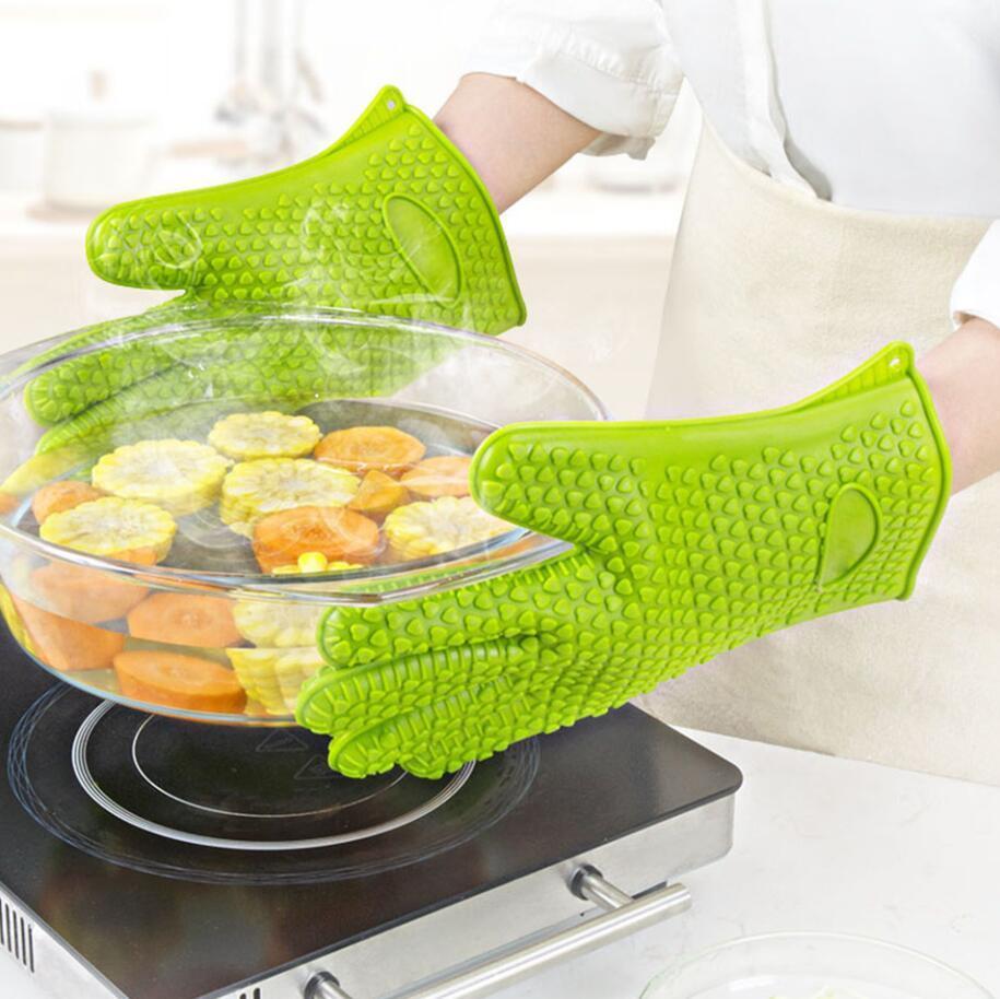 Guantes de guantes antideslizantes de silicona Guantes resistentes al calor Guantes de temperatura para hornear para hornear BBQ Guantes de horno Accesorios de cocina DHL