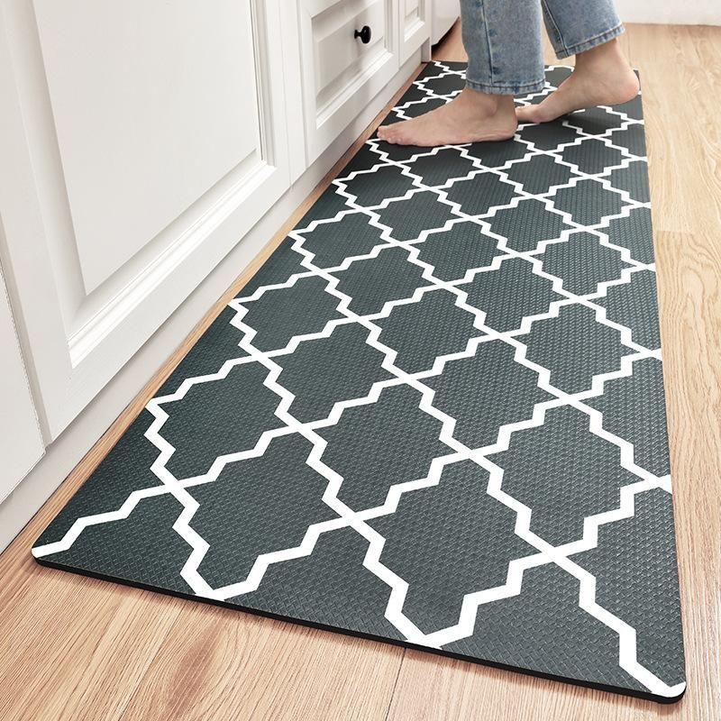 Ковры длинные кухонные коврики классический геометрический узор кожаные коврики для пола противоту усталости водонепроницаемые и нефтяные ковры