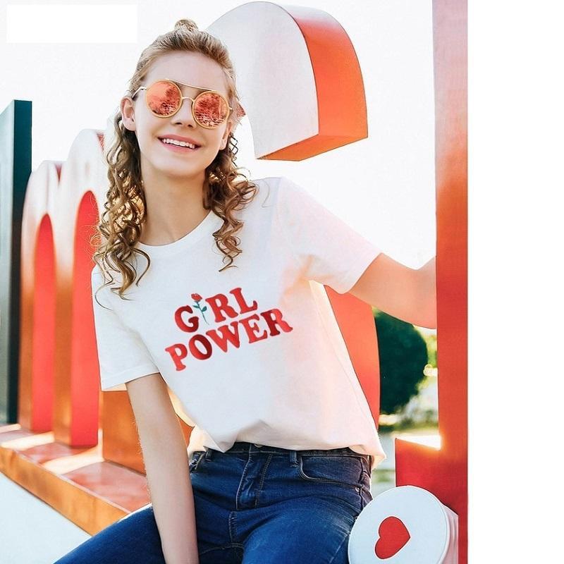 summer fashion design t-shirt clothes Kawaii Girl Power t shirts women t shirt for women crop tops womens clothing harajuku pugs NV51-F