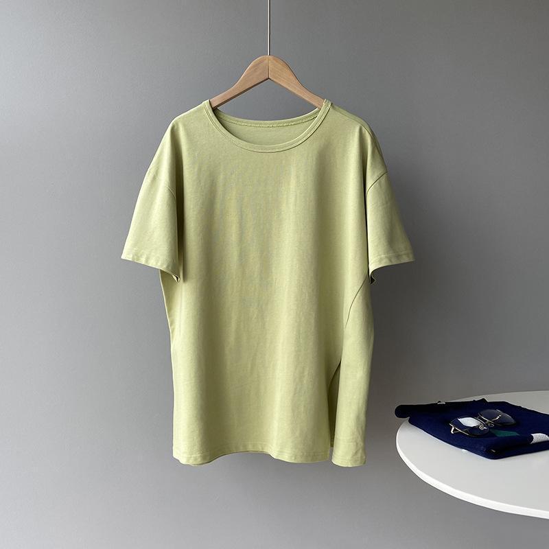 Yeeloca Asymétrique Étudiant Split T-shirt Summer Moyenne Eman Moyenne Col O-Cou Décontracté Pulls Coréen à manches courtes en vrac