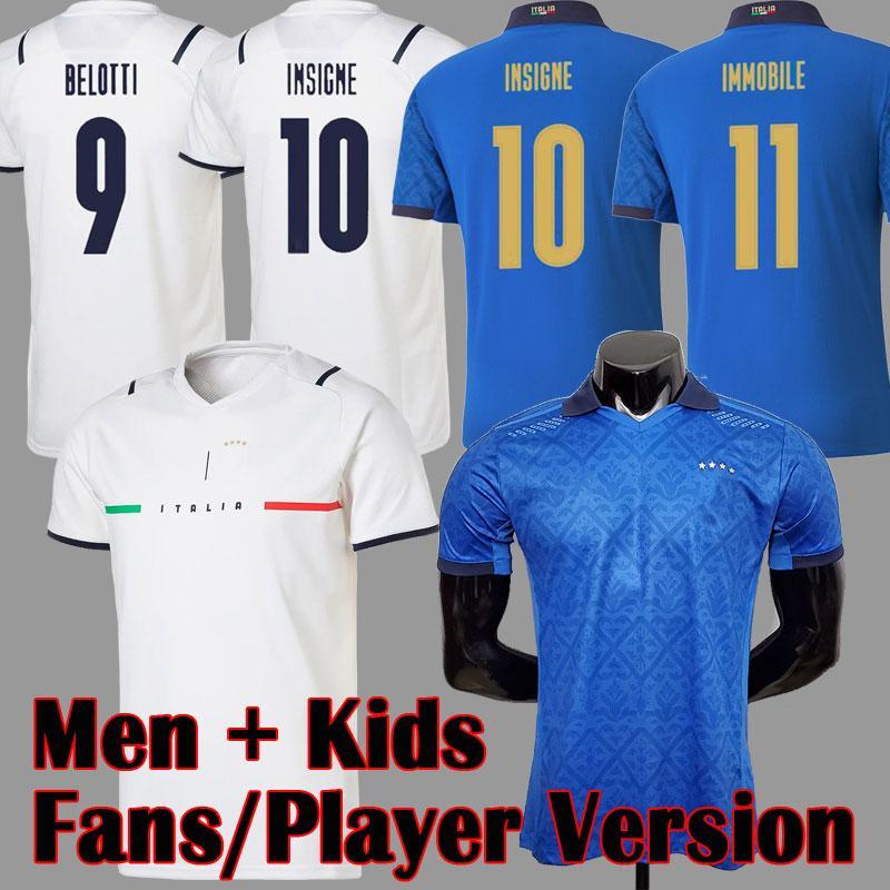 2021 Itália Branco Fora de Futebol Jersey Jersey Vista Jogador Versão Barella Sensi Insigne 20 21 22 Copa Europeia Jerseys Bernardeschi Italia Camisas de futebol Homens Kit Kit uniformes