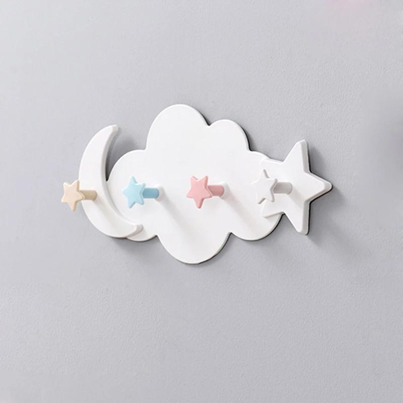Hooks & Rails Decorative Key Hanging Hanger Child Creative Star Moon Cloud Shape Nail-free Wall Clothes Kids Room Kitchen Storage Hook