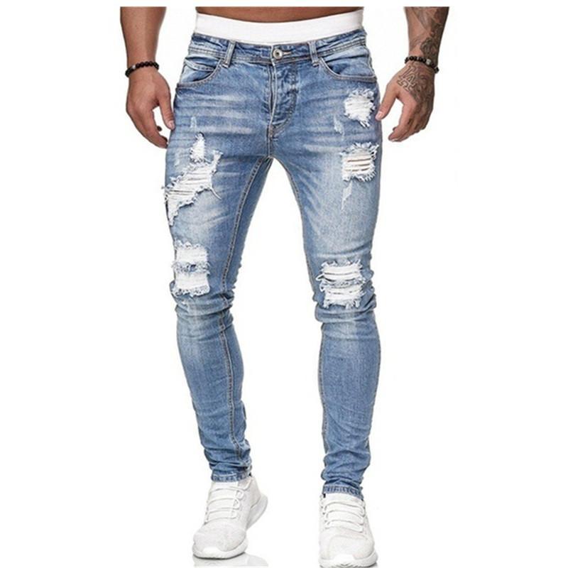 Джинсы мужские хип-хоп Black Moto Biker NY разорвал чистые цветные эластичные джинсовые брюки мужской повседневной талии бега карандашные брюки