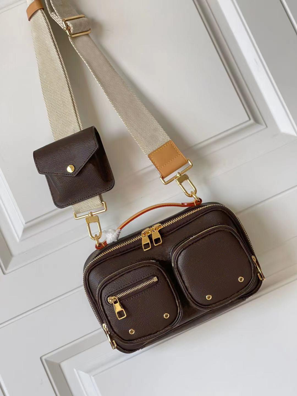 M80446 Utility Cross-Body-Tasche Multifunktions-Taschen mit mehreren draußen Reißverschlusstaschen Verstellbare Schultern Strap Frauen Mode Handtaschen Dame Echtes Leder Tote