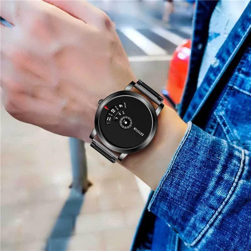 Wristes Swiss Homens Automático Relógio Não Mecânico Impermeável Aço Inoxidável Estudante Assista