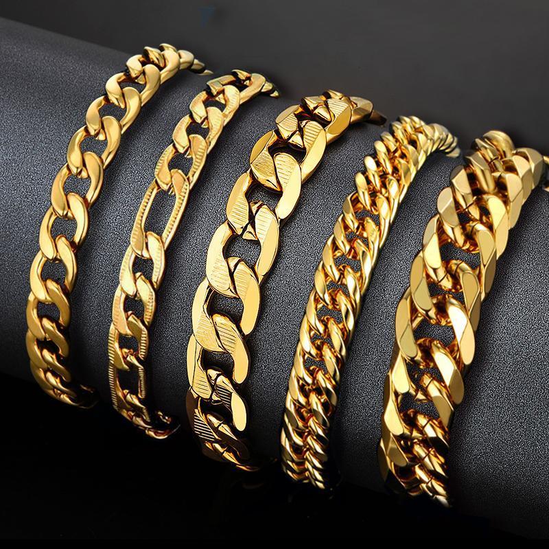 Link, Chain Mens Gold Men Bracelet Cuban Link Stainless Steel & Bracelets For Man Braslet Color Jewelry