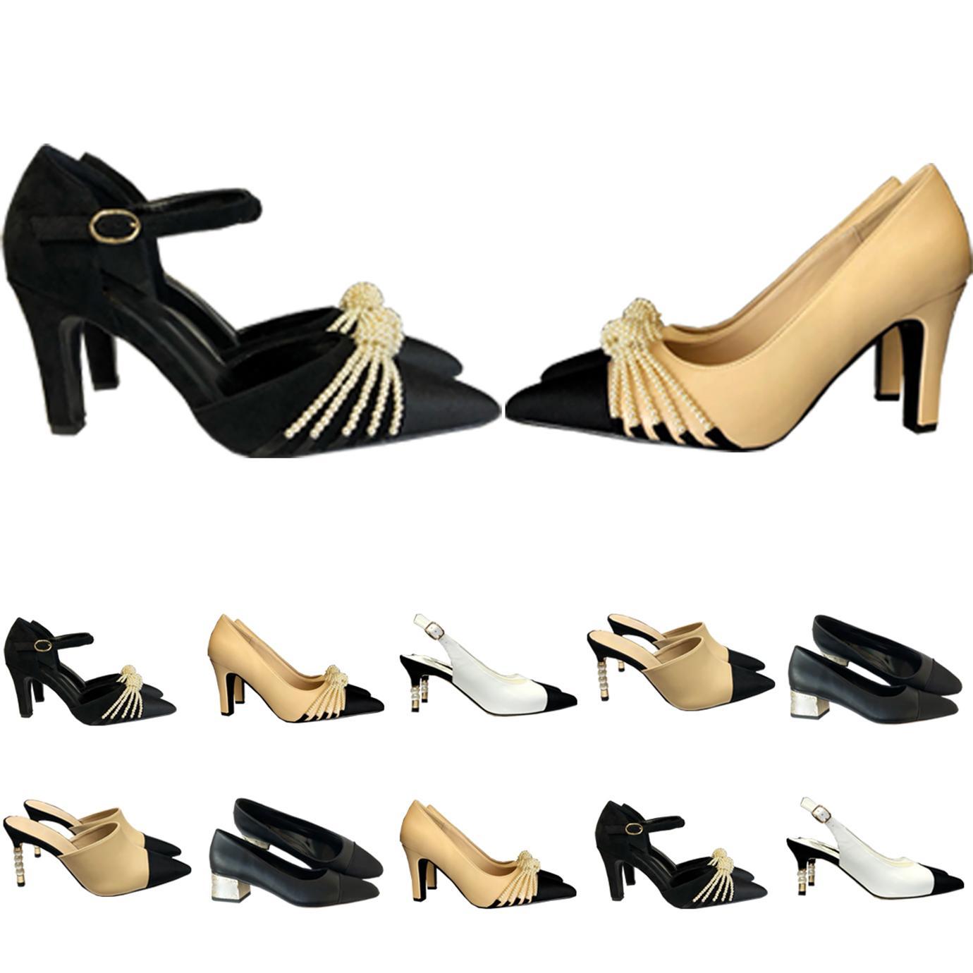 Sandálias Mulheres Saltos Altos Slides Womens Bombas Casuais Luxurys Designers Sapatos Genuíno de Couro Senhora Slipper Wedding Scuffs