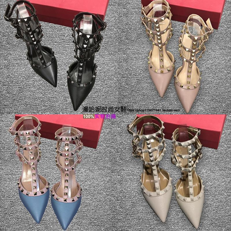 Luxury Dress Shoes 2021 Spring v Family Rivet High Heels Sandals Thin Liuding Middle Heel Leather Strap Wrap Pointed Women's Sho
