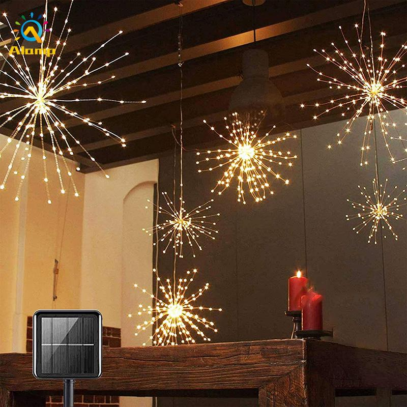 Solar Powered Firework Light Strings 8 Modes Dimmable 200LEDs 240LEDs Hanging Fairy Lights For Patio Parties Christmas