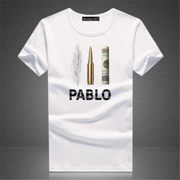 Erkek Pablo Escobar Narcos Rahat Tees Noel O Boyun erkek Tee Gömlek Beyaz Tops Polo Gömlek