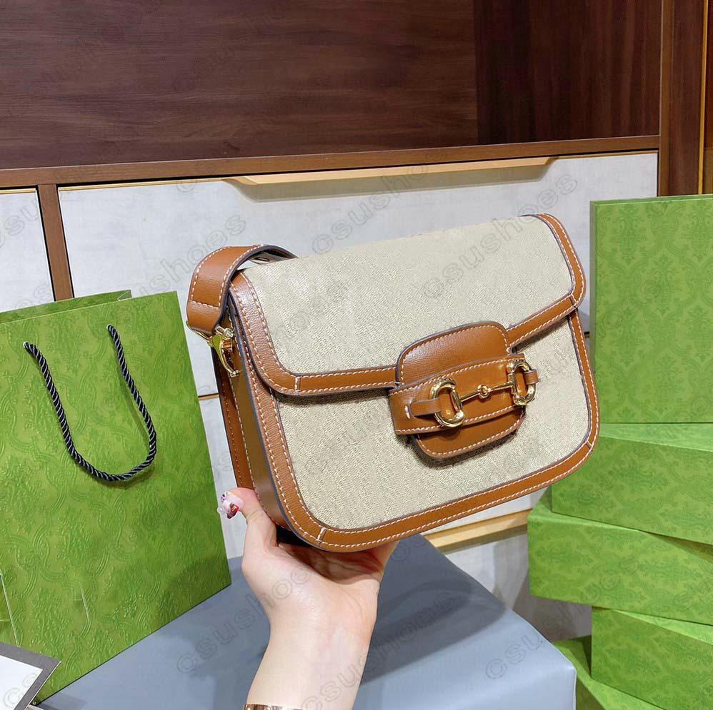 1955 Horsebit Schulter Sattelschloss Tasche Frauen Designer Italien Marke Crossbody Vintage Leinwand Leder Handtasche Luxurys Geldbörse Brieftasche