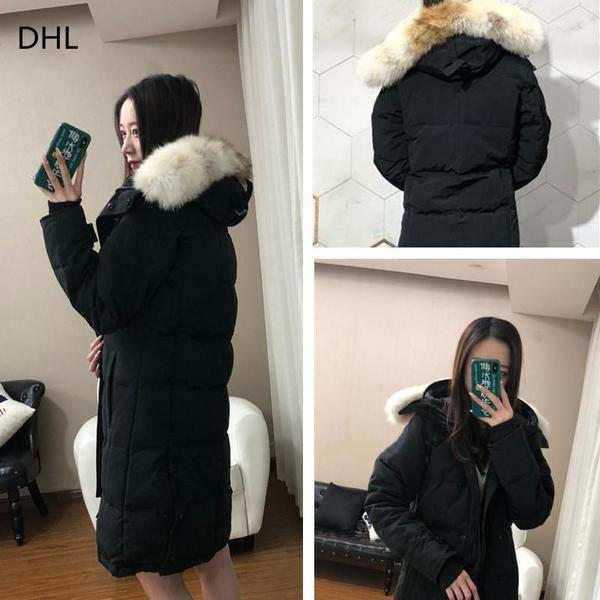 Premium women's designer down jacket clothing Parker's real raccoon fur collar Wolf hair fashion coat for wind protection and warm