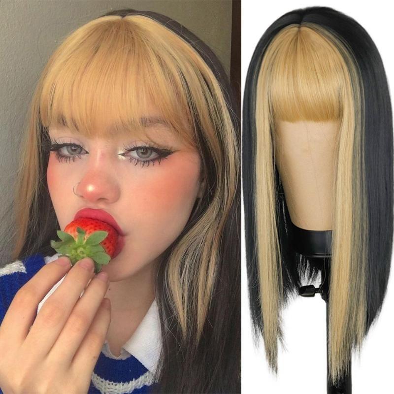 Peruca preta longa e reta para as mulheres ambos os lados Peça do meio do cabelo do ouro com franja resistente ao calor ondulado Wigs sintéticos da menina cosplay