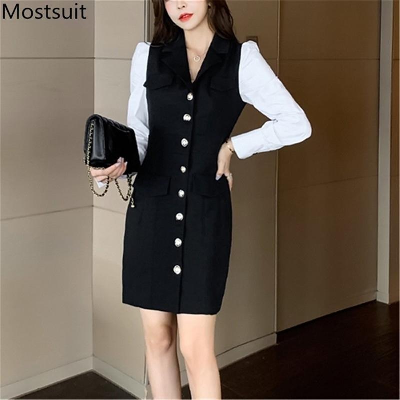 Blazer Blazer monopetto a colori Bloccato Blazer Blazer Spring Manica Full Dotched Collar Abiti da ufficio Coreano Elegante Vestidos 210513