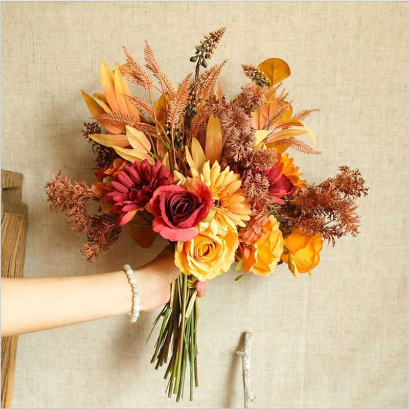 가짜 장미 꽃 고품질 가을 Gerbera 데이지 인공 꽃 웨딩 장식 휴가를위한 긴 꽃다발