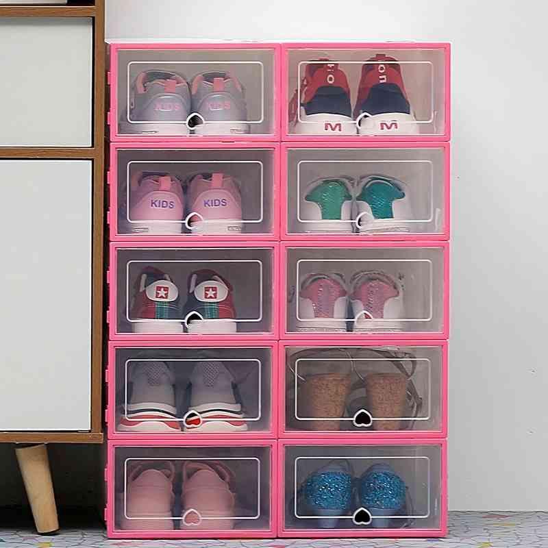 La boîte de rangement de poussière transparente de 6 pc épaissie peut être empilée Organisateur de chaussures d'armoire 210331