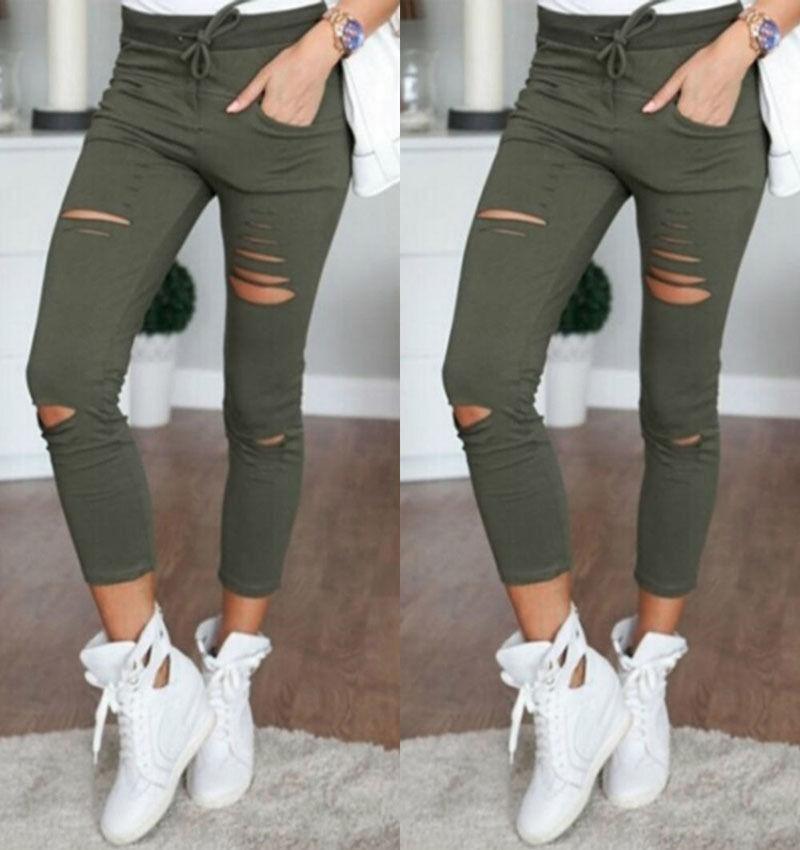 Femmes Noir Blanc déchiré Denim Jeans Femme Casual Pantalon Pantalon Push Up Domaines Torn Pantalon Vintage