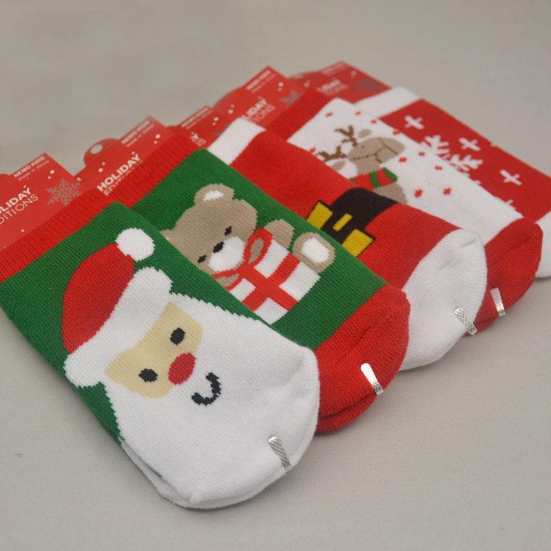 Santa Old Enfants Coton Printemps Elk Automne Filles Garçons Garçons Snowflake Chaussettes Enfants Rayé Terry 1-3 Bébé Hiver Claus Noël Bear XDFRL