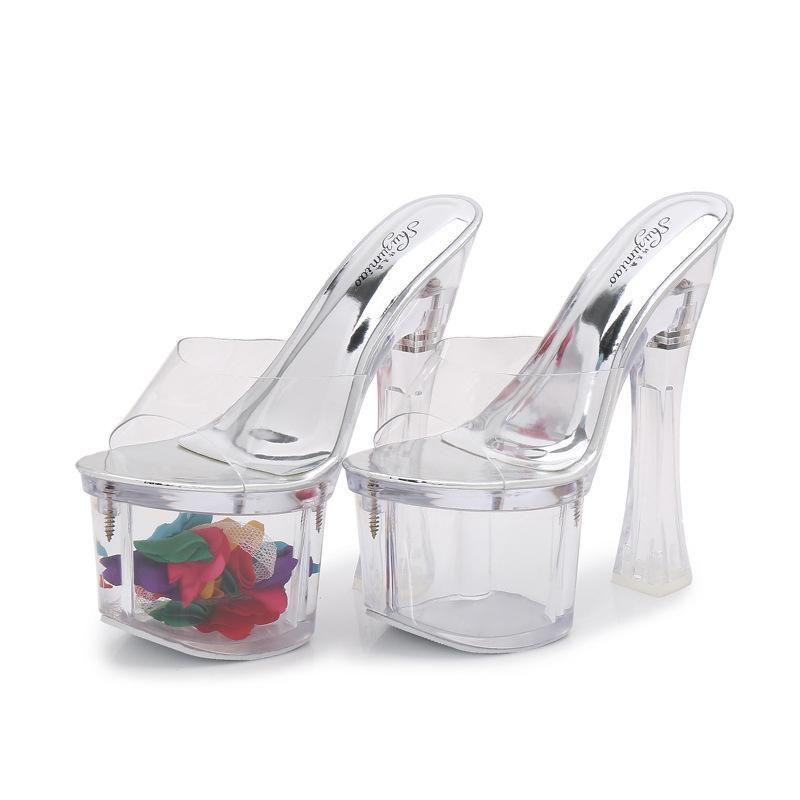 Zapatillas para mujer Cristal Flip Flop Square Tacón alto Plataforma impermeable Flor de la zapatilla en el zapato de PVC transparente al aire libre