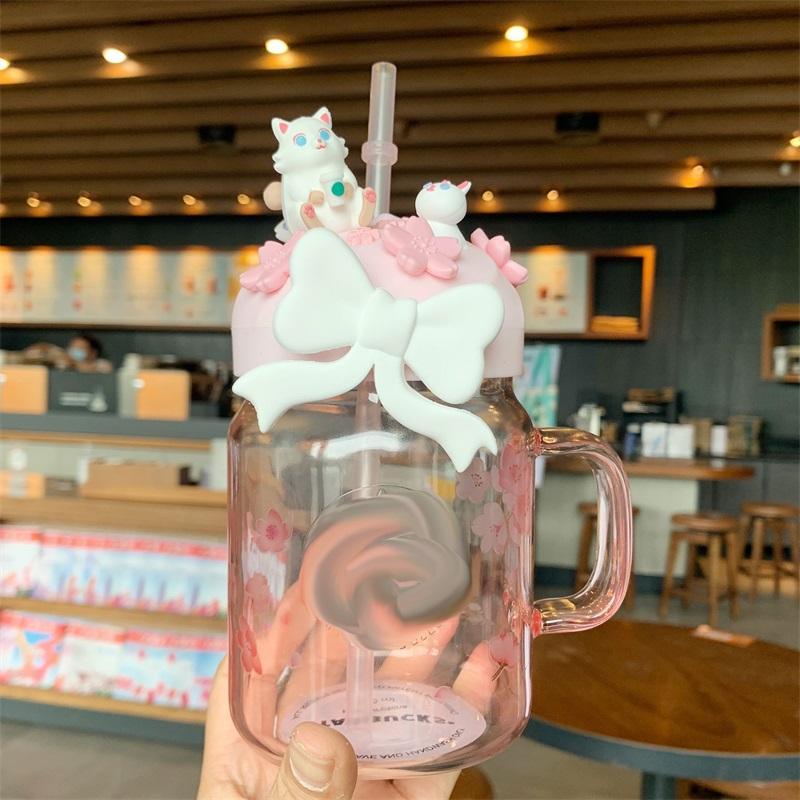 600 ml Rosa Sakura Nette Katze Starbucks Stroh Tassen Glas Kalt Getränk Cup Geschenk Produkt 1739 V2