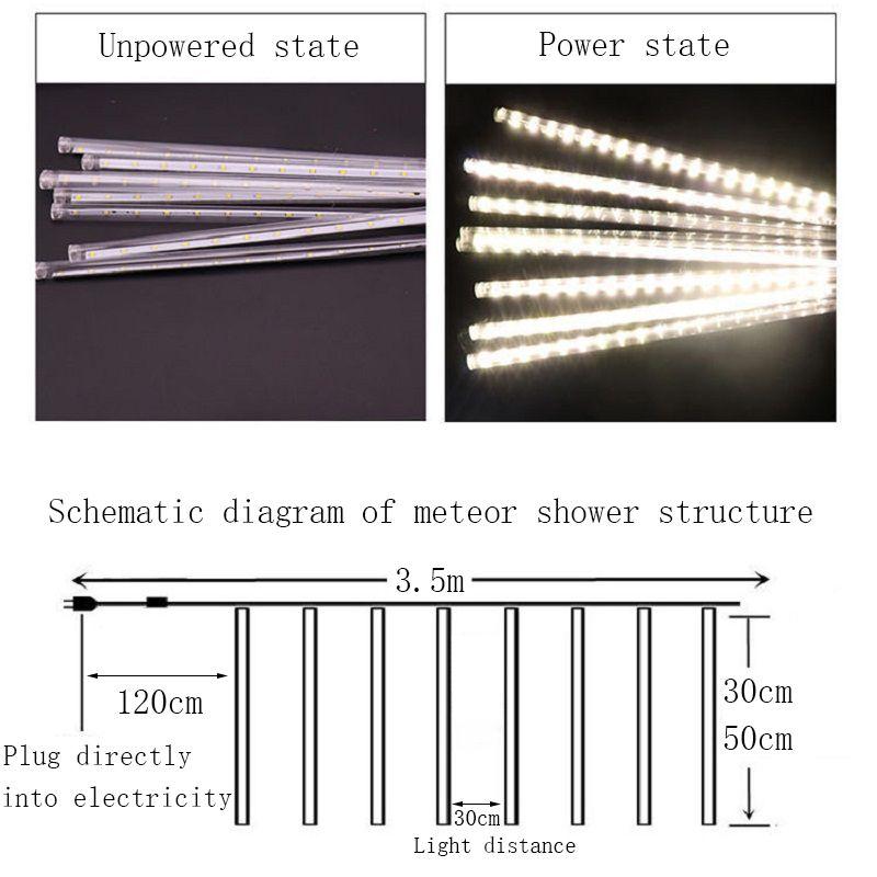 30 cm / 50 cm LED meteor chuveiro festão de faixa de férias luz à prova d 'água à prova d' água para decoração de Natal de rua de jardim