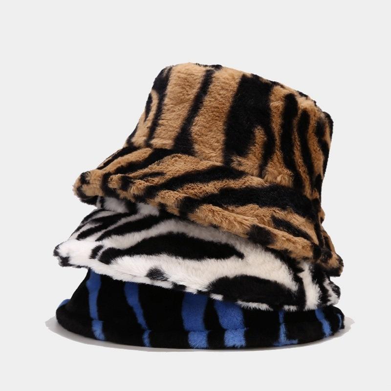Wide Brim Hats Winter Faux Fur Bucket For Women Leopard Cow Print Hip Hop Men Panama Black Outdoor Warm Fisherman Caps