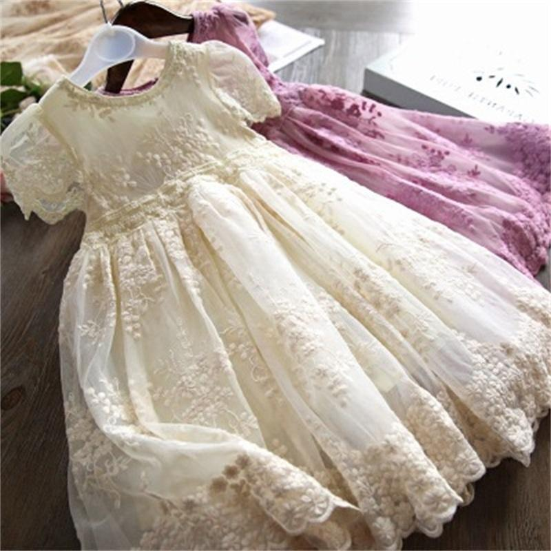 Red Summer Girls Dress for Kids Primavera Mezza manica Principessa Costume Pizzo Bambini fiori ricamo Partito Vestido Abbigliamento 860 Y2