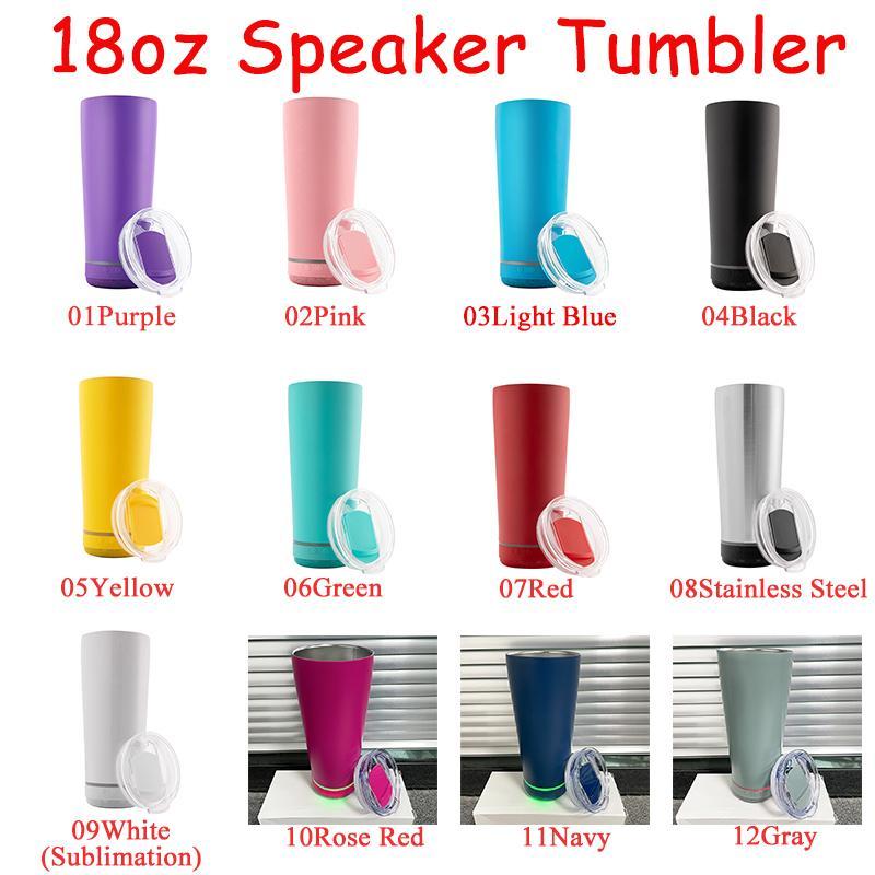 11 colores 18oz creativo tumblers de música inalámbrica impermeable acero inoxidable agua botella altavoces portátil sublimación altavoz tambor