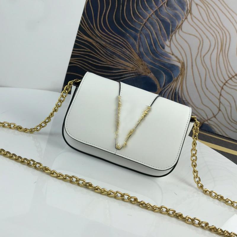 Evening Bag Women Handbags Purse Crossbody Bags Genuine Leather Fashion Metal Letter Magnetic Flap Closure Gold Shoulder Chain Internal Pockets Top quality