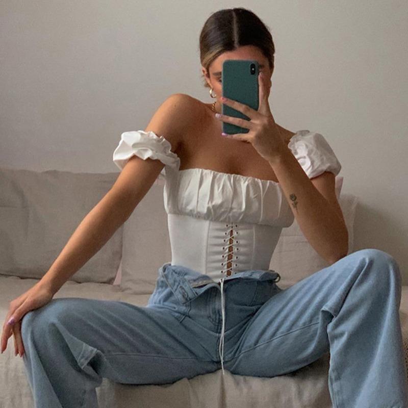 Off Shoulder Fashion Lace Up Shirts Blouse Women White Crop Tops Blouses T-shirt Casual Party Christmas Shirt Women's &