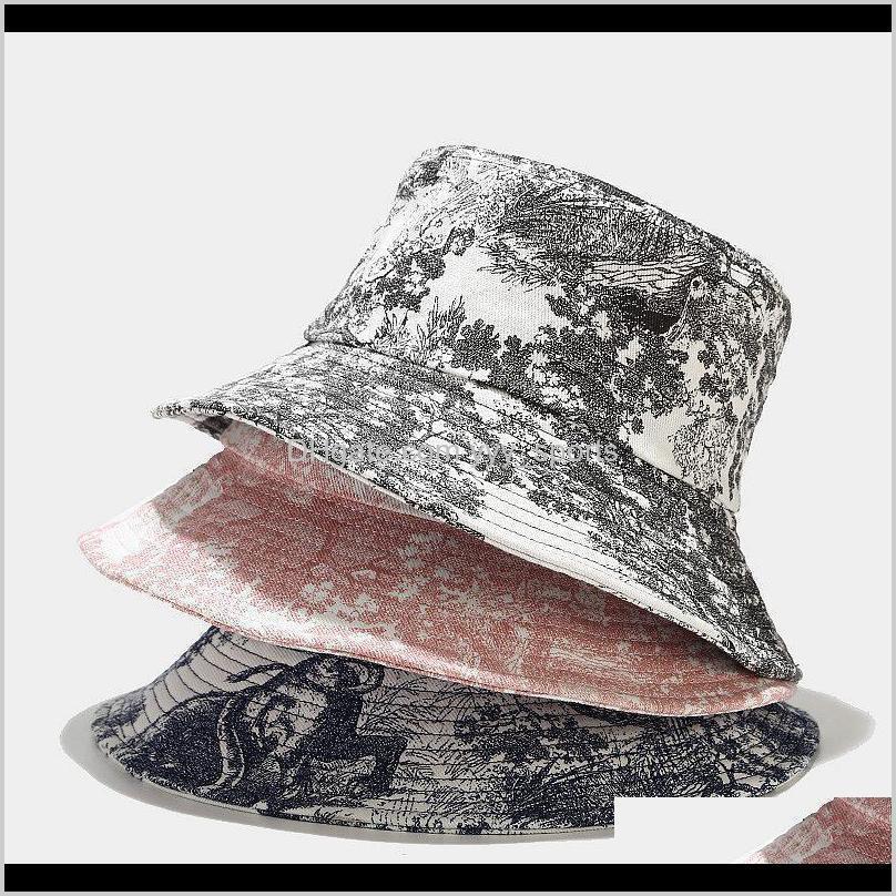 Beanies Unisex Mürekkep Boyama Vintage Kova Şapka Tie-Boya Baskılı Açık Balıkçı Cap Bonnets CN (Origin) FBW3U Drs2U