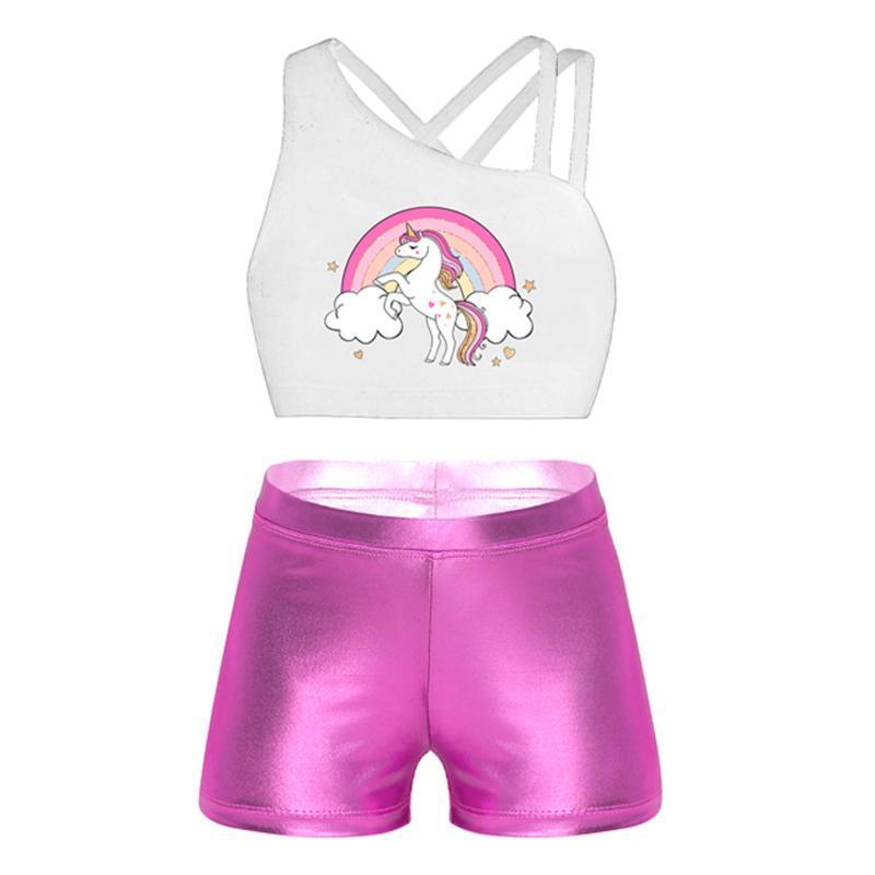 Stage Wear Kids Girls Ballet Dance Sets Sleeveless Cartoon Print Tanks Crop Top Gym Workout Vest+Bottoms Shorts Children Dancewear Outfit