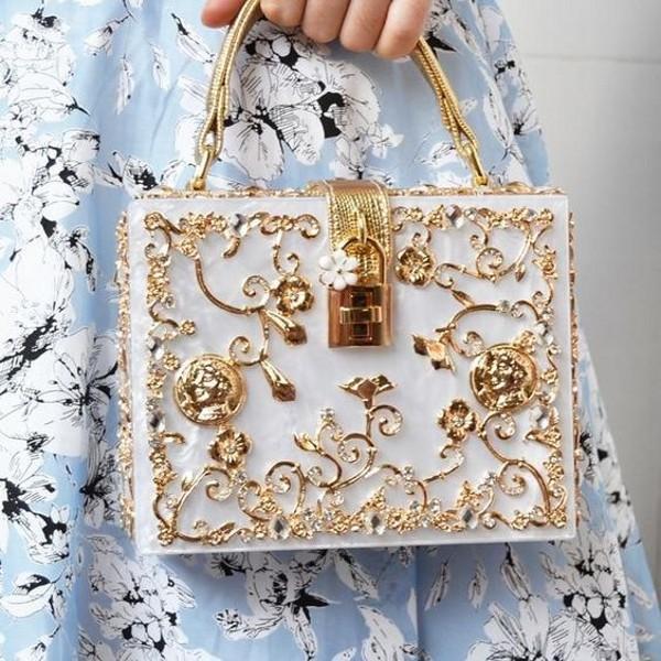Caja de moda italiana Vintage bolsas de noche bolsos bolsos de lujo oro hueco hueco tallado embrague bolso boda fiesta baile bailarina de las señoras de la fiesta de los accesorios de novia Al9131