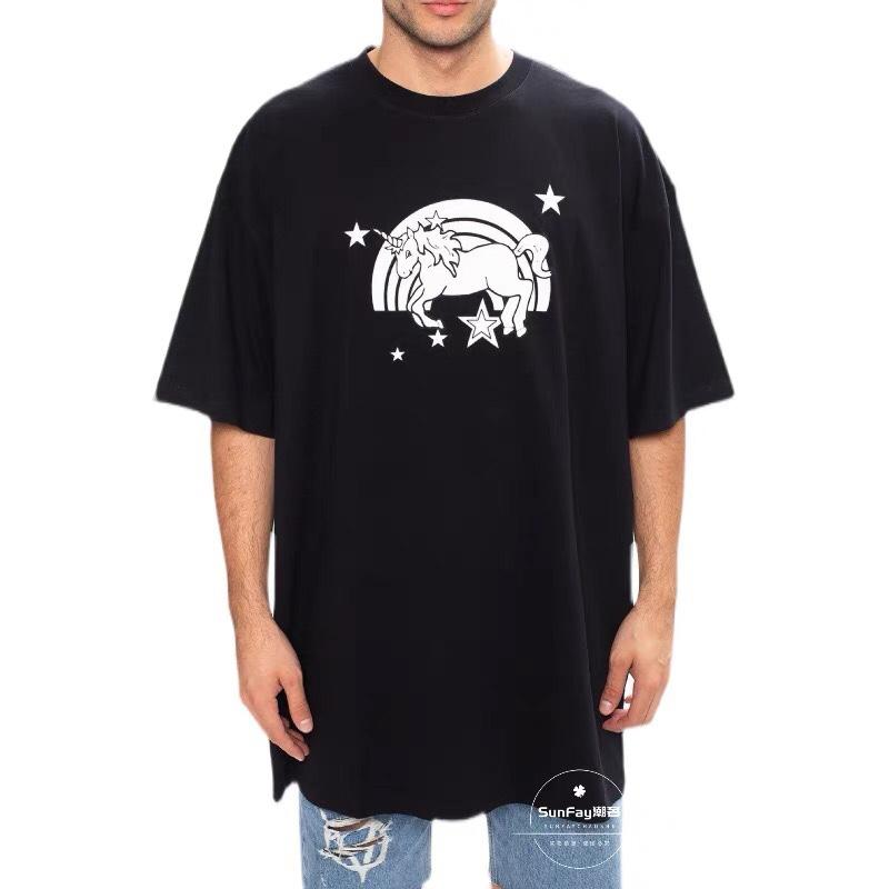 21ss 유럽 프랑스 유니콘과 무지개 한정판 티셔츠 패션 자수 망 티셔츠 여성 의류 캐주얼 코튼 티