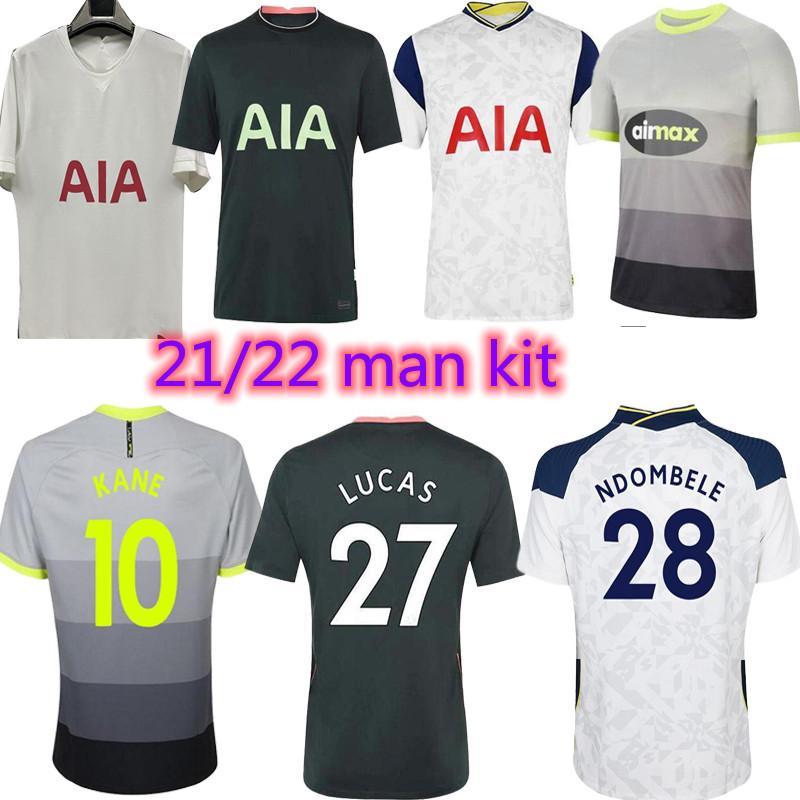 Homens Kit 20 21 22 22 Kane Son Bergwijn Ndombele Soccer Jerseys Home 2021 2022 Tottenham Dele Deley Camisa de Futebol Lo Celso Morgan Bale Lamela 4th Højbjerg