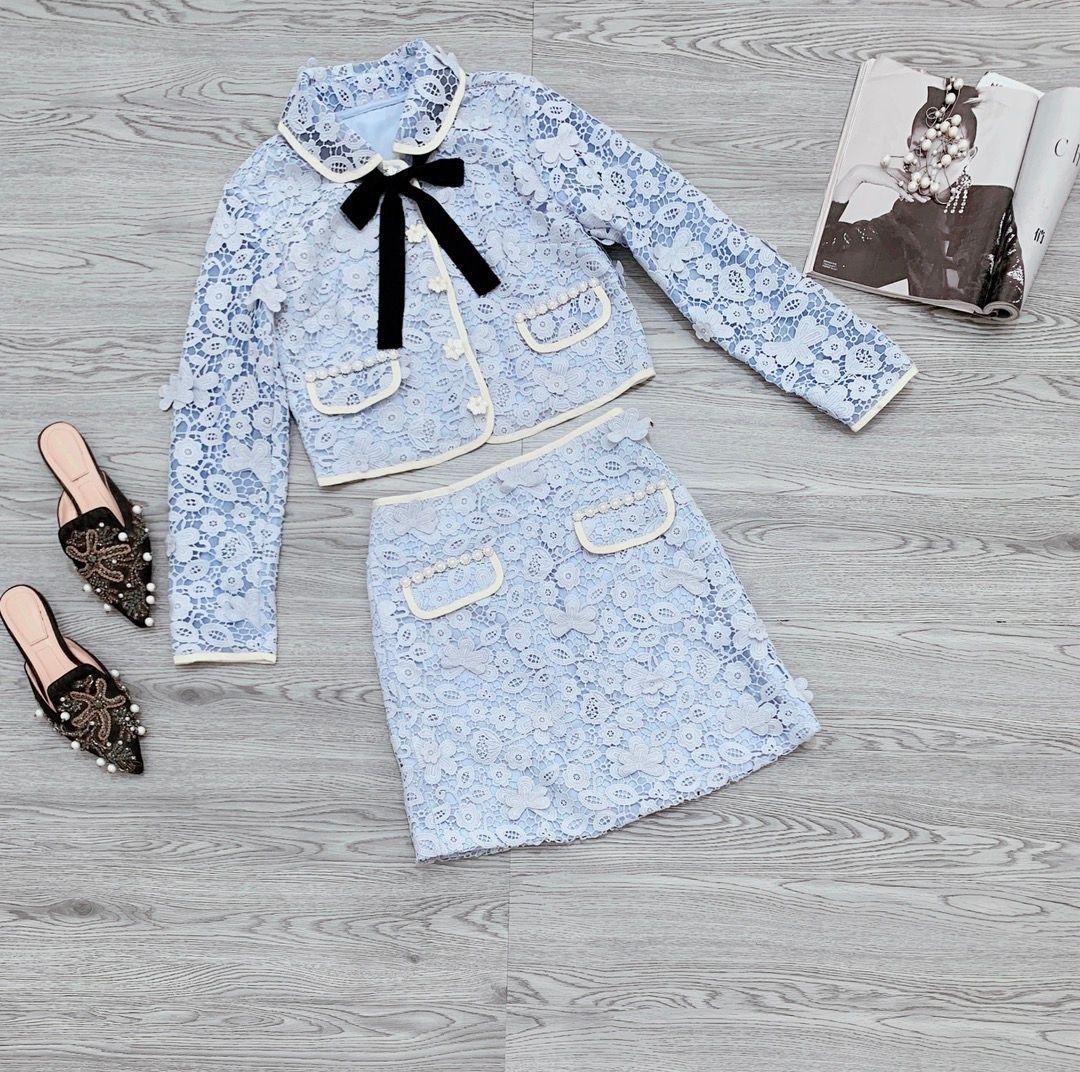 2021 Iki Parçalı Elbise Yaz Sonbahar Yaka Boyun Uzun Kollu Mont Ve Bayan Moda Baskı Etekler Için 2 Parça Setleri 0619-2