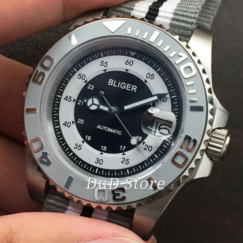Armbanduhren Bliger 40mm graue keramische Lünette Nylonriemen Saphirglas Automatische Männeruhr