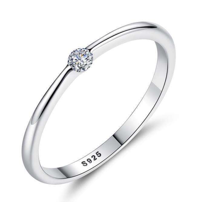 925 anéis de prata esterlina redondo zircônia dedo de cristal para mulheres casamento jóias originais