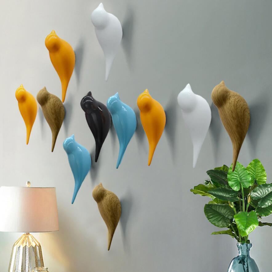 Ganchos de pared creativos Decoración de pájaro Resina de madera Ganchos de grano de grano Puerta de dormitorio después de los Animales Ganchos 3D Capa Hook Single Wall Hanger 5 colores
