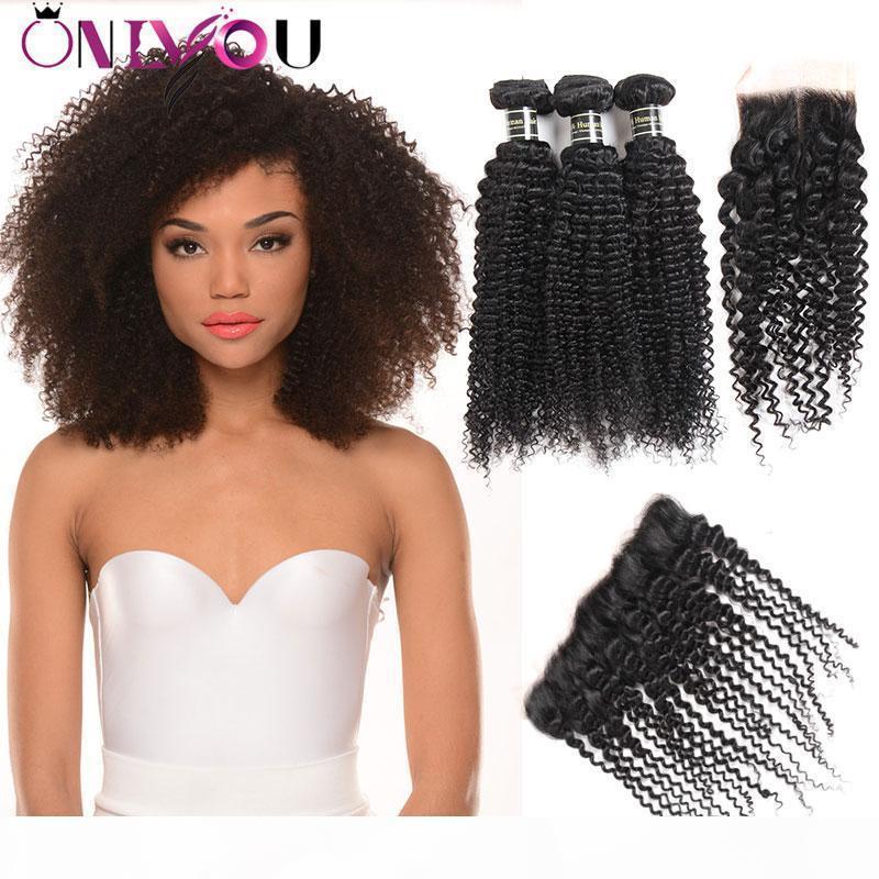 9A Péruvien Cheveux Vierge Kinky Bundles Curly avec fermeture Brésilienne Top Remy Cheveux humains Teins Bundles avec oreille frontale à la fermeture de la dentelle auriculaire