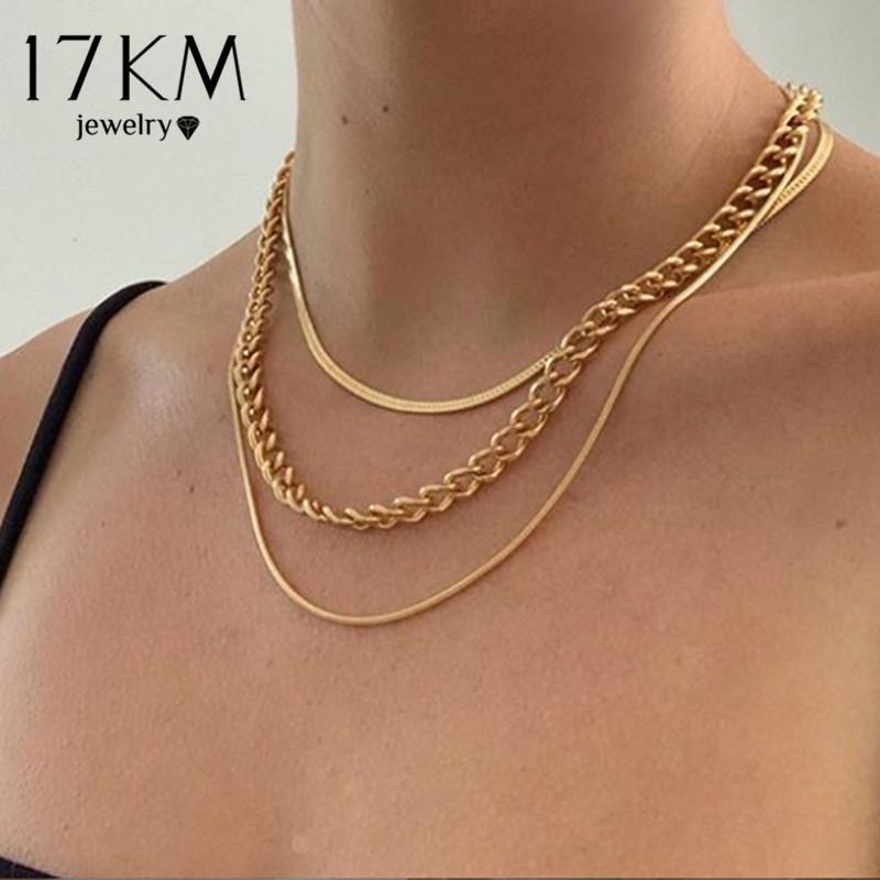 Moda de 17km Collar de cadena de serpientes de múltiples capas para mujeres Vintage Vintage Coin Pearl Gargantilla suéter collares Joyería de fiesta Regalo