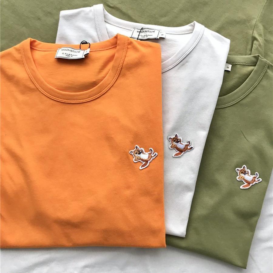 Fox Patch Badge Maison Kitsune T-shirt Hommes Femmes 1: 1 La meilleure qualité Ader Unisexe Top T-shirt Harajuku