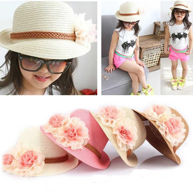 Summer Children Spring Straw Hats Soft Fashion Outdoor Boys Girls Kids Stingy Brim Caps Floral Bucket Hats Sun Hats Fitted Dome Cap KIDS-12